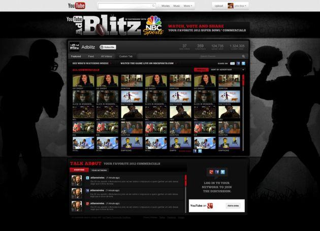 Super Bowl XLVI ads weer te zien met YouTube Ad Blitz