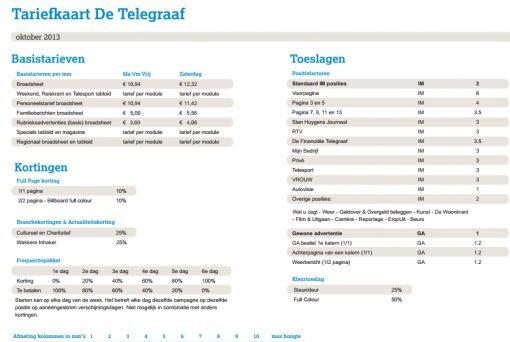 tariefkaart telegraaf