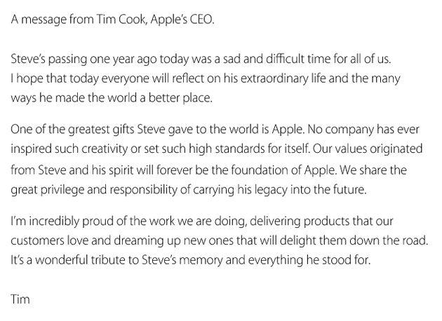 Tim Cook herdenkt overlijden Steve Jobs op homepage Apple