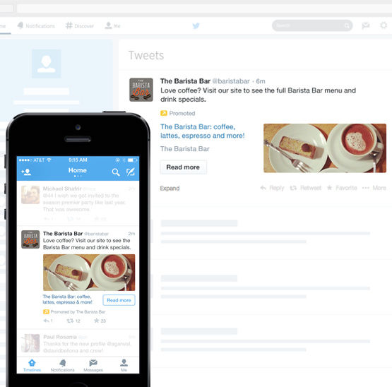 Twitter advertising; de website card
