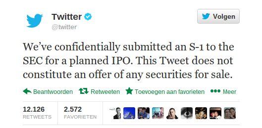 Twitter gaat naar de beurs!