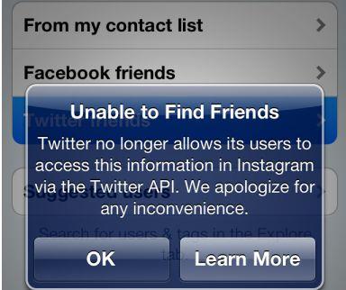 Twitter heeft Instagram de toegang tot de API ontzegd