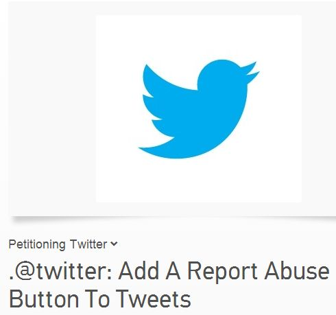 "Twitter test ""Report Abuse"" knop"