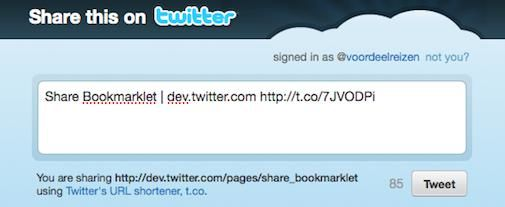 Twitter Tweet button nu ook in je browser