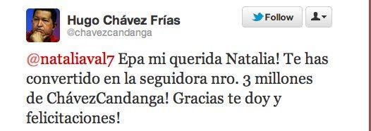 Venezolaanse President Hugo Chávez geeft twittervolger huis