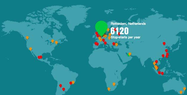 Verkeer in Amsterdam maakt 4x zoveel start-stop bewegingen als in Rotterdam