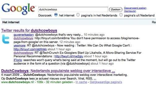 Voeg Twitter toe aan je Google zoekresultaten