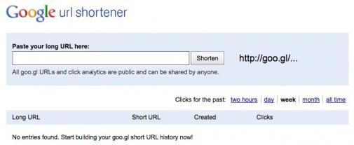 Website voor Google's Url Shortener