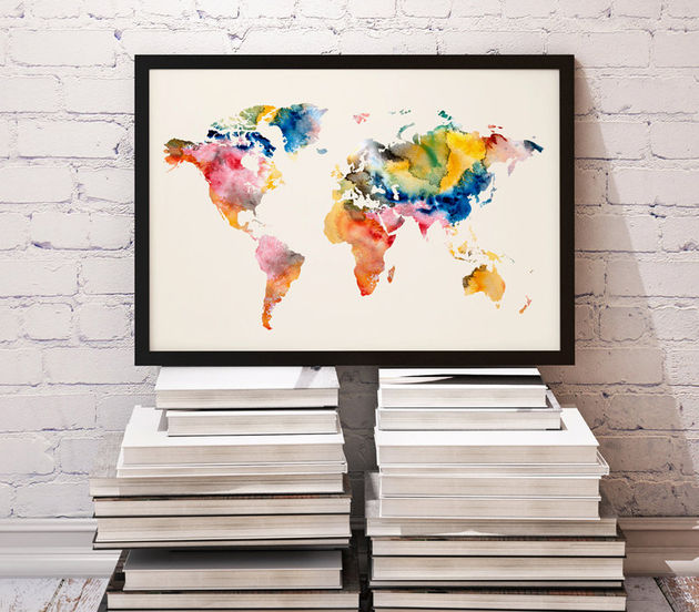 wereldkaart-waterverf