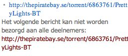 Windows Live Messenger blokkeert Pirate Bay links
