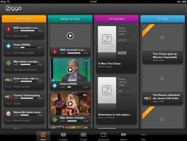 Ziggo komt met live televisie op de iPad