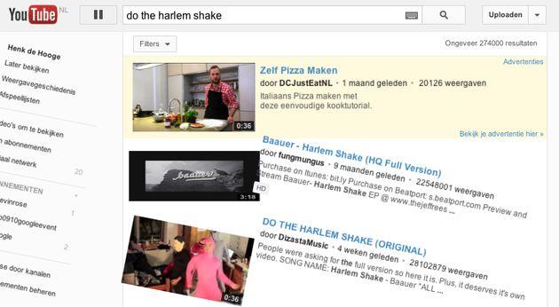 """Zoek op """"do the harlem shake"""" op YouTube en kijk wat er gebeurt"""