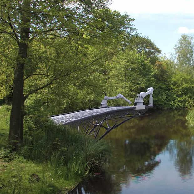 Een 3D-geprinte brug over de Amsterdamse grachten
