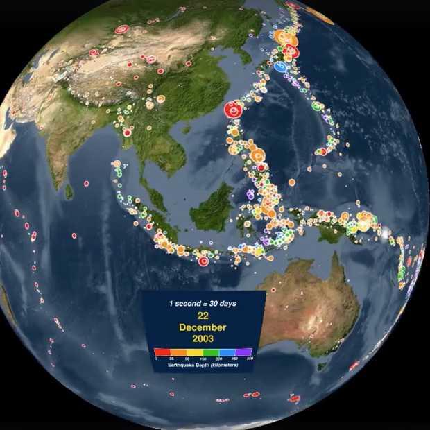 Indrukwekkende timelapse toont alle aardbevingen sinds 2001