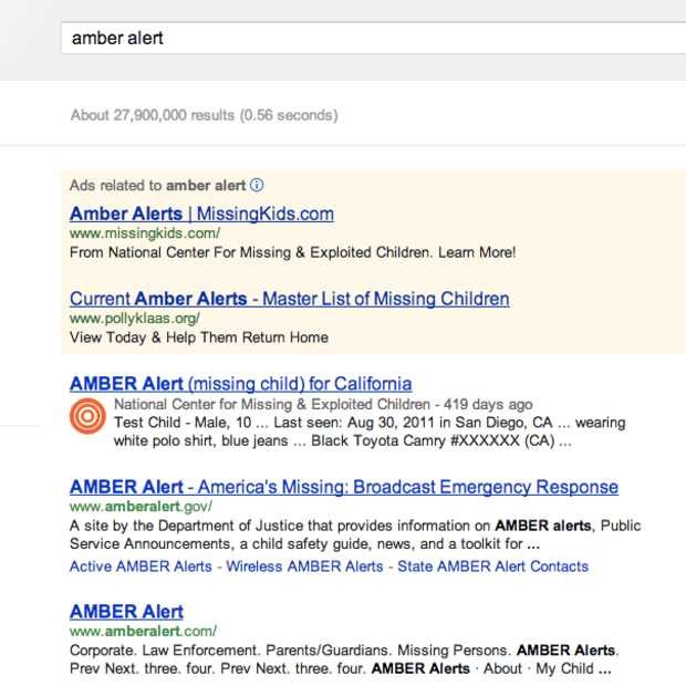 AMBER Alert terug te vinden in Google Search en Maps