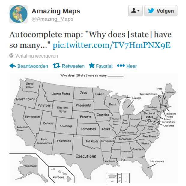Amerikaanse staten in kaart gebracht met autocomplete