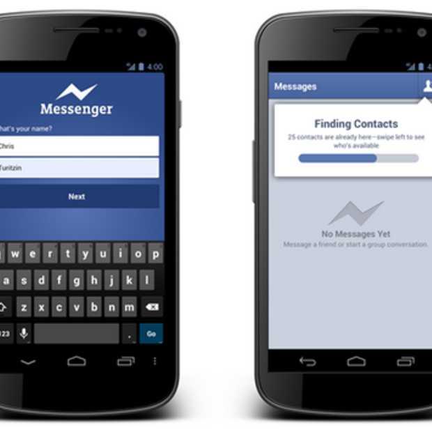 Android gebruikers kunnen met naam en telefoonnummer inloggen op Facebook messenger