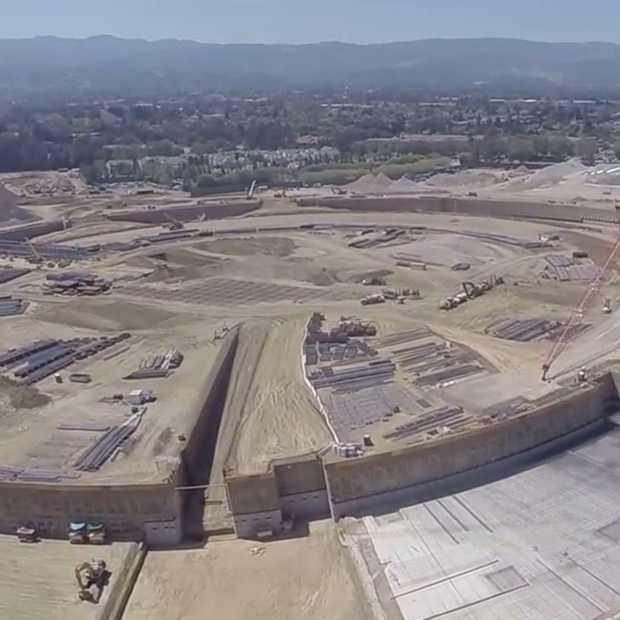Drone toont eerste beelden van Apple's nieuwe Spaceship Campus