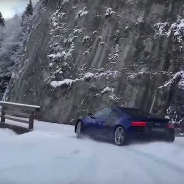 Video: Audi r8 drift door de sneeuw in de bergen