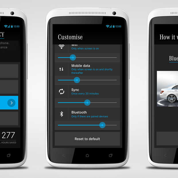 Batterijbesparende smartphone app van Mercedes-Benz
