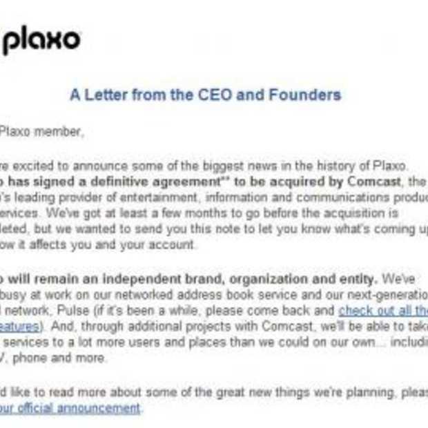 CEO PLAXO stuurt alle leden een brief
