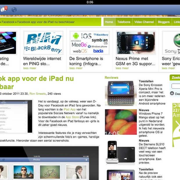 De Facebook app voor iPad