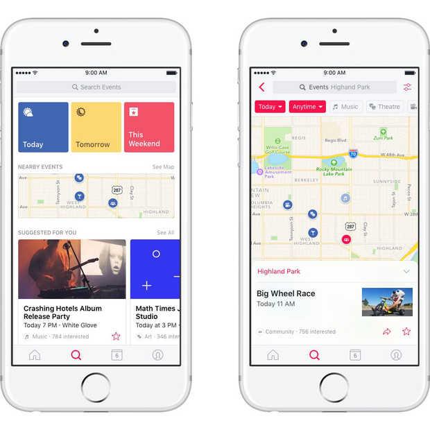 Ook Facebook Events krijgt een eigen app