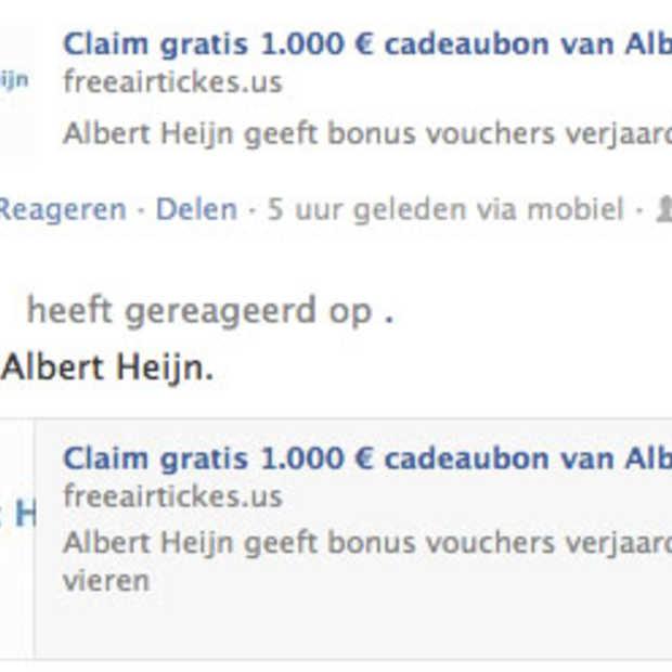Facebook scam: Nee AH geeft geen cadeaubon van 1.000,- euro weg