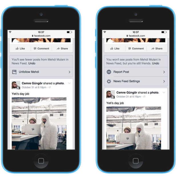 Facebook moedigt het ontvolgen van vrienden en pagina's aan