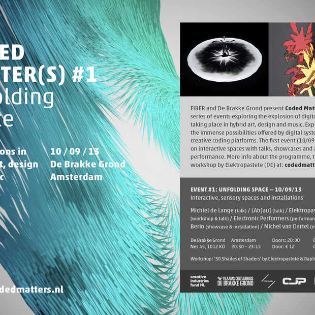 FIBER presenteert Coded Matter(s) #1; Verkenningen in hybride kunst, design en muziek