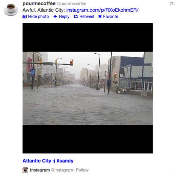 Gebruikers op Instagram versturen grote hoeveelheden foto's orkaan Sandy