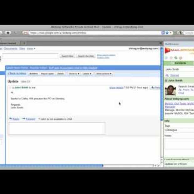 Demo of MailBrowser: Gmail plugin for contacts & attachments