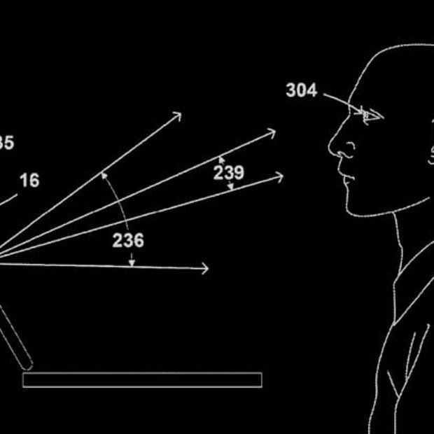 Google patent: zelf openende laptop met scherm dat je ogen volgt