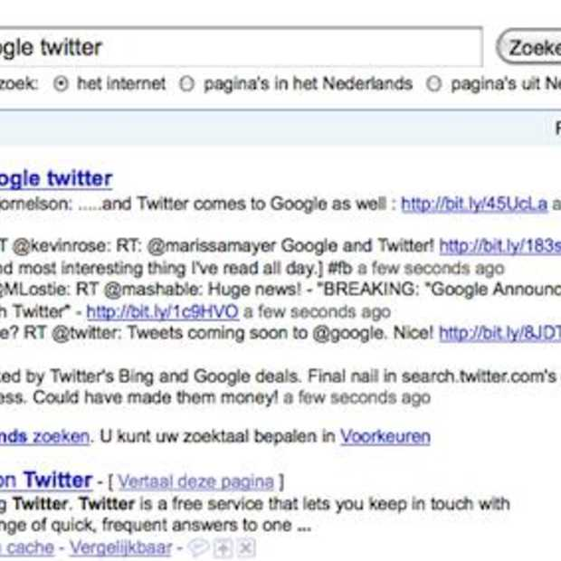 Hot news: Google met Twitter in real-time Search
