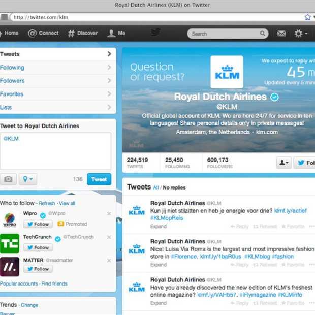 KLM toont actuele Social media reactie tijden