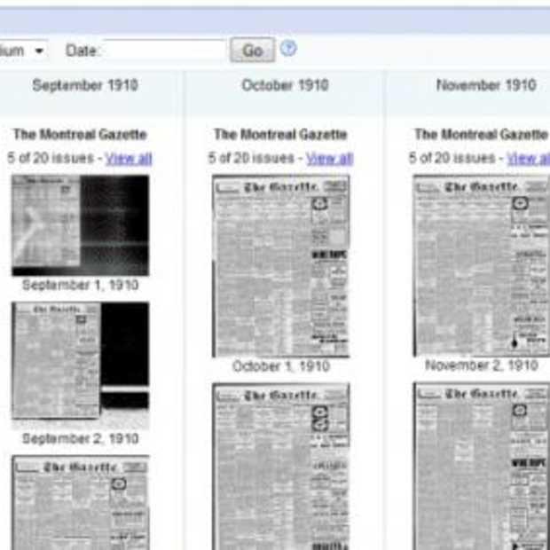Krant doorbladeren in Google nieuws archief
