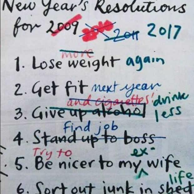 De grappigste voornemens voor 2017