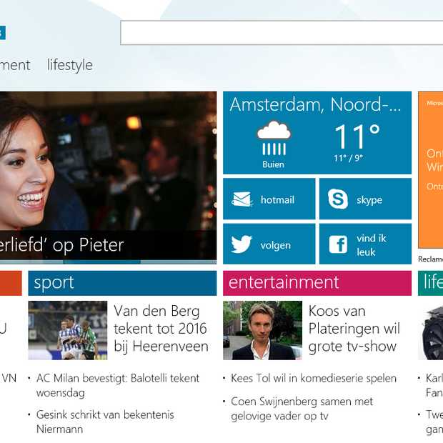 MSN.nl geoptimaliseerd voor smartphone en tabletgebruik
