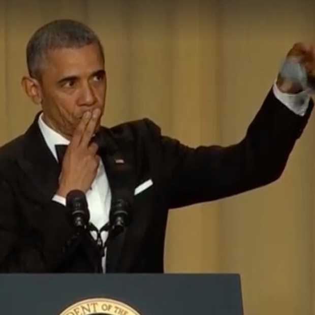 Obama geeft hilarische speech met cool einde