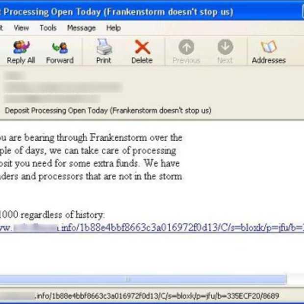 Pas op voor spam rondom orkaan Sandy