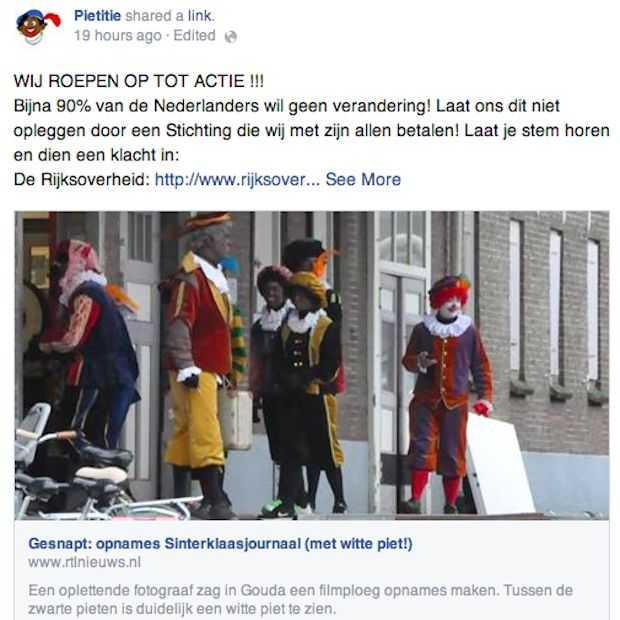 Facebookactie tegen Witte Piet