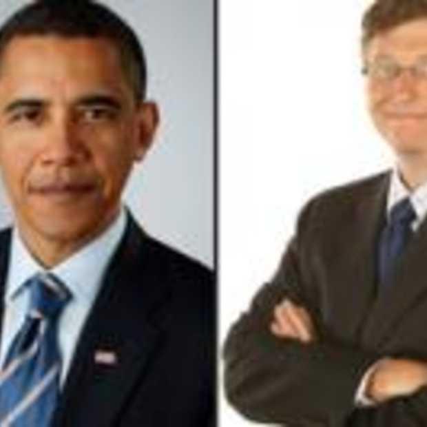 President Barack Obama en Micrsoft oprichter Bill Gates samen online