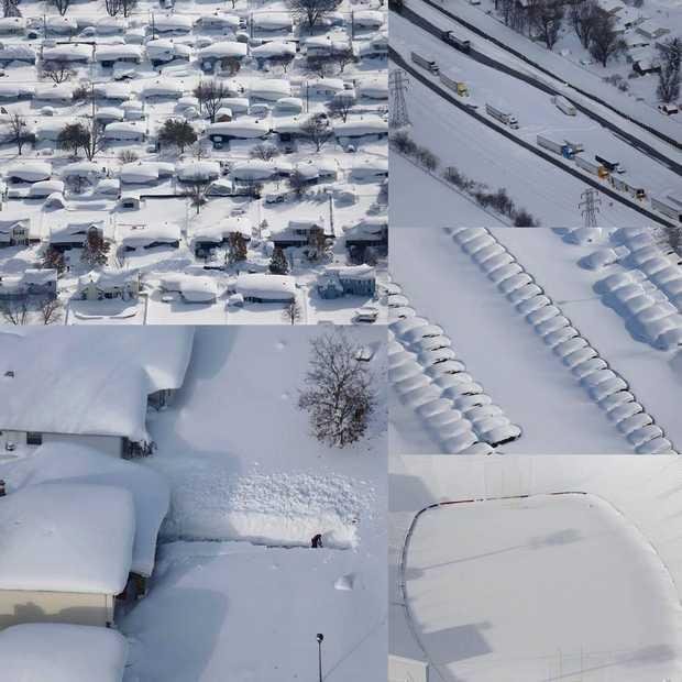 Bizarre foto's vanuit de lucht van sneeuwstorm Buffalo