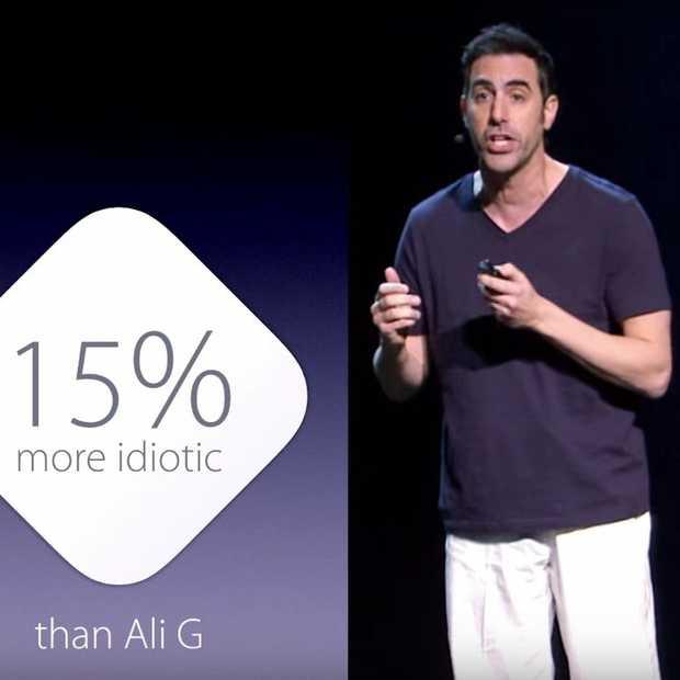 Sasha 'Borat' Baron Cohen maakt filmpromotie in Apple stijl