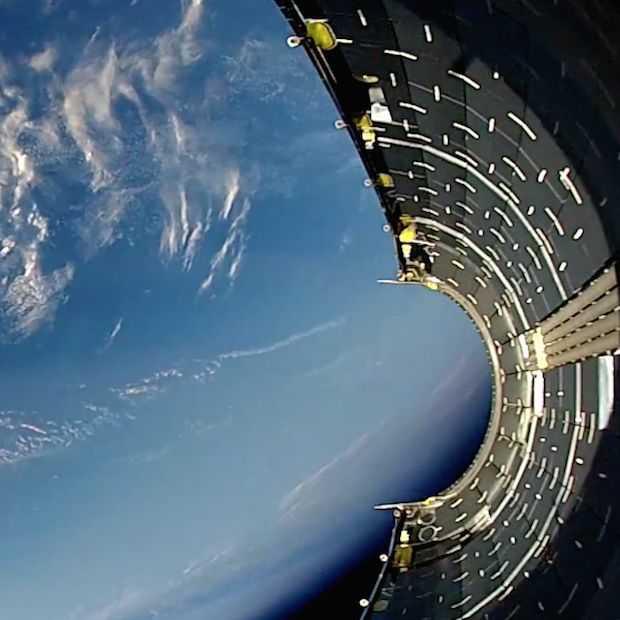 Prachtige video van wrakstuk raket dat terug naar de aarde valt