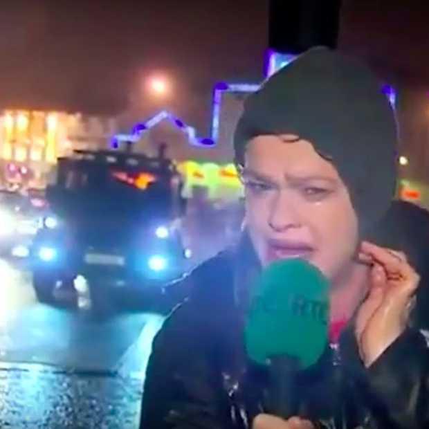 Video van verslaggeefster in de storm gaat viral