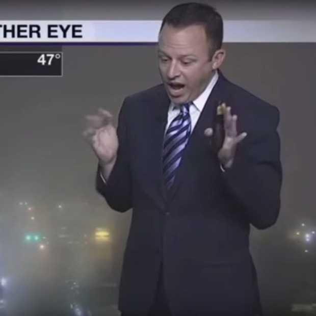 Grappige video: weerman schrikt zich kapot