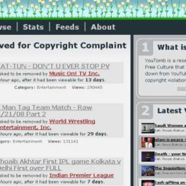 YouTomb: herinnering aan niet-legale YouTube video's