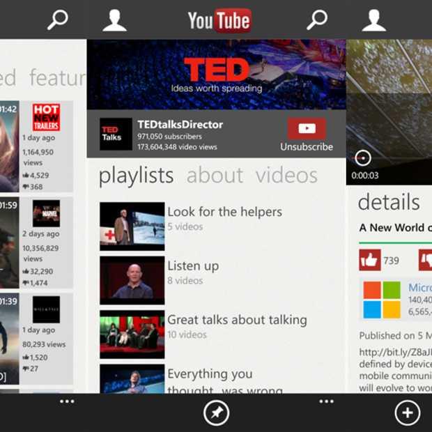 YouTube voor Windows Phone 8 compleet vernieuwd