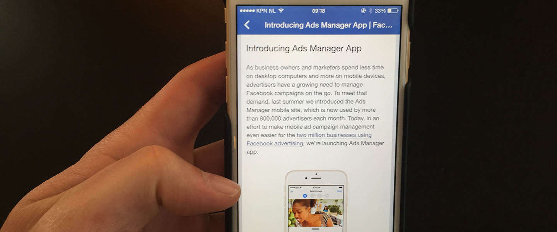 Facebook lanceert App voor beheer van Facebook Ads